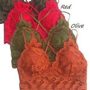 🆕 Red Crochet Lace Bralette